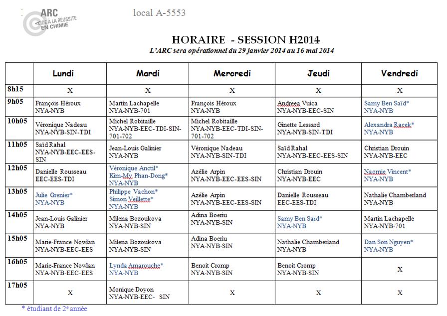 horaire de l'aRC-Hiver2014